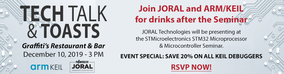 Banner for Tech Talk & Toasts on December 10, 2019.